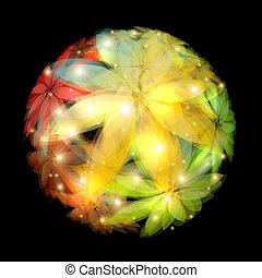 花, バックグラウンド。, 抽象的, ベクトル, illustration.
