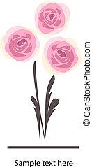 花, バラ, 花, ベクトル, デザイン