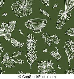 花, パターン, ハーブ, 広告, お茶, seamless, 草, 葉