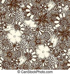 花, パターン, doodles, seamless, キュウリ