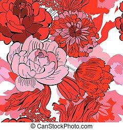 花, パターン, seamless, 赤
