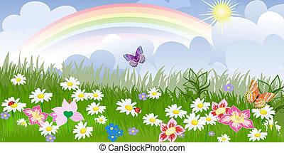 花, パノラマ, 芝生