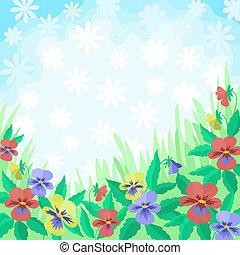 花, パンジー, そして, 空, 背景