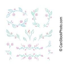 花, ビネット, セット