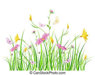 花, ピンクの花, 背景