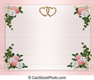 花, ピンク, 結婚式, ボーダー, 招待