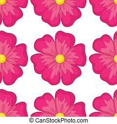 花, ピンク, seamless, 漫画, タイル, パターン