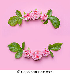 花, フレーム, ∥で∥, ピンクのバラ, 上に, a, ピンク, バックグラウンド。, ボーダー, の, flowers., パターン, ∥ために∥, 招待, カード