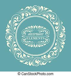 花, フレーム, ∥で∥, 装飾用である, elements.