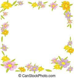 花, フレーム, -, イラスト, ベクトル, 背景