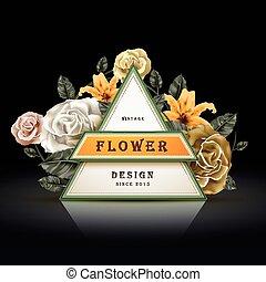 花, フレーム, デザイン, レトロ