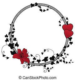 花, フレーム, バレンタイン