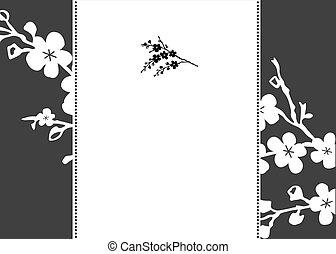 花, フレーム, ベクトル, 背景