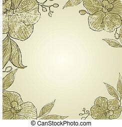 花, フレーム, 型, ベクトル