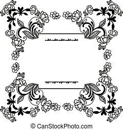 花, フレーム, 壁紙, イラスト, ベクトル, デザイン, 白, 背景