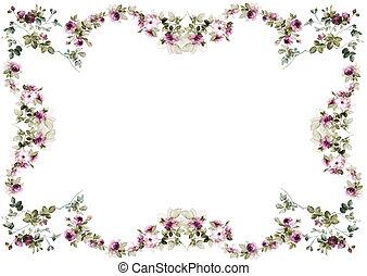 花, フレーム, 白, 隔離された, 背景