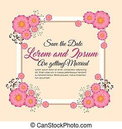 花, フレーム, 結婚式の招待