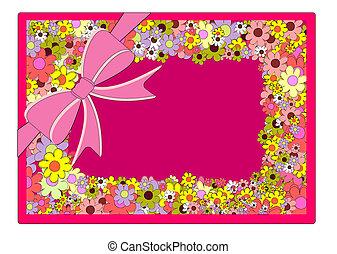花, フレーム, 背景, ベクトル