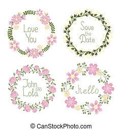 花, フレーム, 花輪, 結婚式の招待