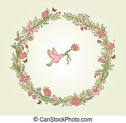 花, フレーム, 鳥