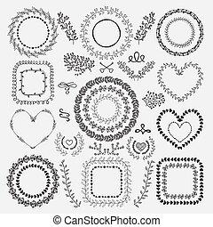 花, フレーム, hand-drawn