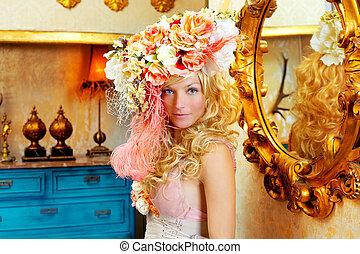 花, ブロンド, 帽子, 春, 女, ファッション