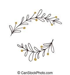 花, ベクトル, クリスマス, 要素