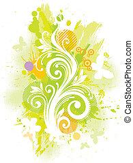 花, ベクトル, グランジ, イラスト