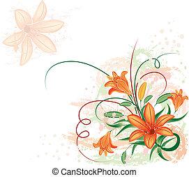花, ベクトル, グランジ, lilium, 背景