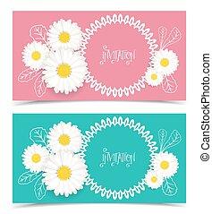 花, ベクトル, グリーティングカード