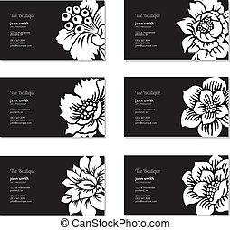 花, ベクトル, セット, 名刺