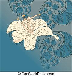 花, ベクトル, ユリ, 背景