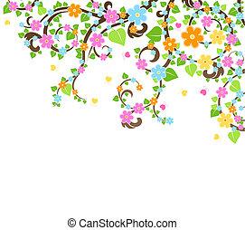 花, ベクトル, 木
