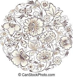 花, ベクトル, 構成, 図画, ラウンド
