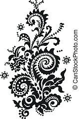 花, ペイズリー織デザイン