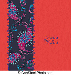 花, ペイズリー織, グランジ, カード, 招待