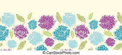 花, ペイントされた, パターン, seamless, 背景, textured, 横