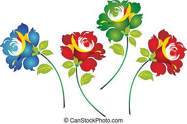 花, ボーダー, クラシック