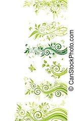 花, ボーダー, 緑