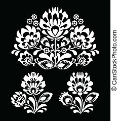 花, ポーランド語, 白, 人々, 刺繍
