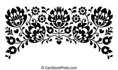 花, ポーランド語, b&w, 人々, 刺繍