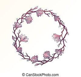 花, モクレン, 円, フレーム, テンプレート
