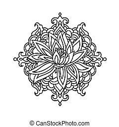 花, ヨガ, illustration., ロータス, シンボル。, バックグラウンド。, ベクトル, 白, アイコン