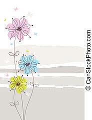 花, ライト, 背景