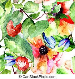 花, ラズベリー, パターン, seamless