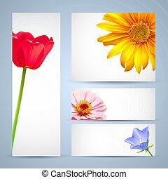 花, レイアウト, 背景, テンプレート, パンフレット, デザイン