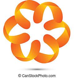 花, ロゴ, 抽象的, ベクトル