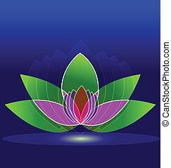 花, ロータス, 水, デザイン, 背景, ロゴ, アイコン