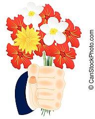 花, 中に, 手