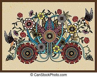花, 乗り物, 着色, 成人, ページ